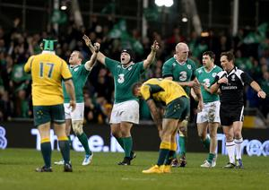 Forward planning: Ireland's Sean Cronin, Mike Ross and Paul O'Connell celebrate after Saturday's epic win over Australia