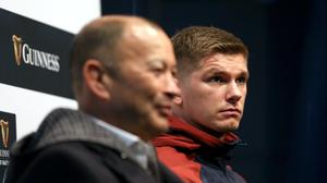 Head coach Eddie Jones, left, is ready to keep selecting Owen Farrell, right, for England despite Saracens' impending demotion to the Championship (Steven Paston/PA)