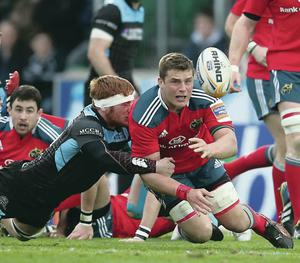 Under pressure: Munster's CJ Stander gets the ball away during last night's Pro12 semi-final against Glasgow at Scotstoun