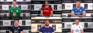 Captains' call: Top row (L-R) Ireland's Johnny Sexton, Wales' Alun Wyn Jones and Italy's Luca Bigi; Bottom row (L-R) Scotland Stuart Hogg, Charles Ollivon of France and England's Owen Farrell at yesterday's virtual launch of the Six Nations