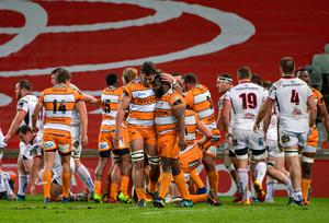 Short-lived adventure: Cheetahs players celebrate a try against Ulster during the PRO14 season in 2018