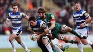 Bath flanker Francois Louw, centre, in action for his club during last weekend's Aviva Premiership defeat against Leicester