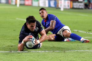Sean Maitland scores Scotland's first try of the World Cup in the 34-0 victory against Samoa in Kobe (David Davies/PA)