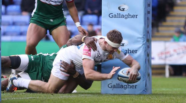 Sam Hill scored two tries for Exeter in their win at London Irish (David Davies/PA)
