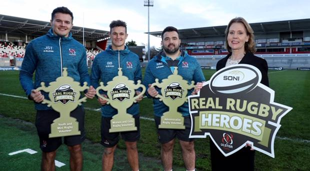 Heroes' welcome: pictured at the launch of the SONI Rugby Heroes awards are (from left) Ulster players Jacob Stockdale, Billy Burns and Marty Moore with Jo Aston, managing director of SONI