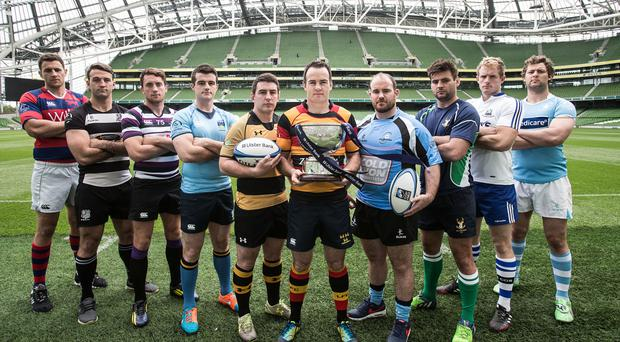 Raring to go: Representatives of the participating clubs launch the Ulster Bank All-Ireland Leagues