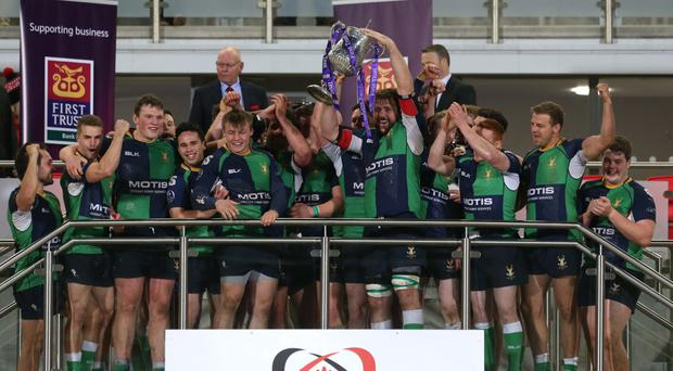 Just champion: Ballynahinch skipper Michael Graham lifts the First Trust Ulster Senior Cup after his side bounced back to beat rivals Ballymena 19-10