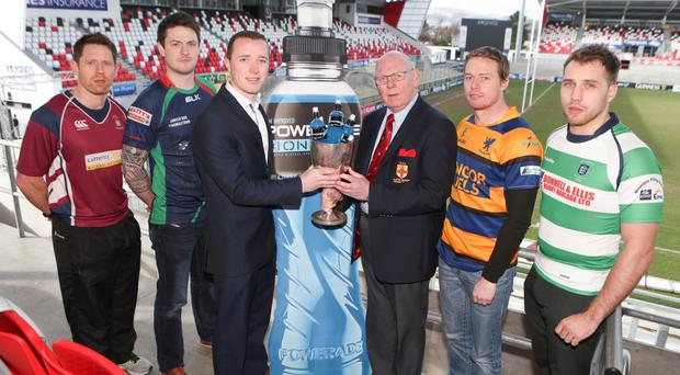 Town flyers: Pictured at the Kingspan Stadium for the Powerade Towns' Cup draw are Mattie Maguire of Enniskillen, Clogher Valley's David Sharkey, Niall Rush representing Powerade, Bobby Stewart, President Ulster Branch IRFU, Jason Guthrie of Bangor and Omagh's Stephen MacLaine