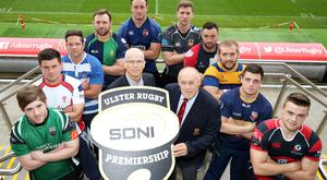 Premier class: Representatives from all the clubs at the launch of the rebranded SONI Ulster Rugby Premiership at the Kingspan Stadium with SONI General Manager Robin McCormick