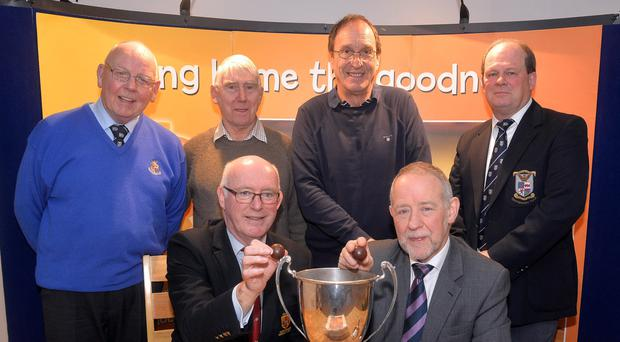 Upper Krust: Tournament organisers from Portadown Rugby Football Club, Bobby Stewart; Sid Rowe, Barney McGonigle, and Gary Jackson. Front Row, L-R: Ulster Rugby Ulster Branch President, Stephen Elliott, and Irwin's Bakery chair Brian Irwin