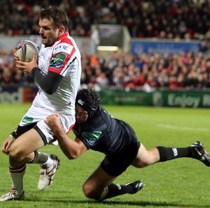 Ulster full-back Jared Payne, pictured left, has been banned for two weeks