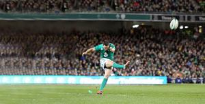 Making pressure count: Johnny Sexton's kicking turned territory into points as Ireland held on to record a thrilling victory over Australia at the Aviva