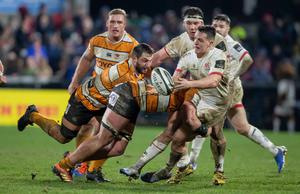 Waiting game: James Hume is tackled by Chris Massyn of Toyota Cheetahs in Ulster's last Pro14 clash in February