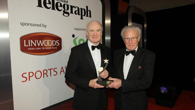 Special guest: Jack Kyle, seen here with Mike Gibson, was a great supporter of the Belfast Telegraph Sports awards