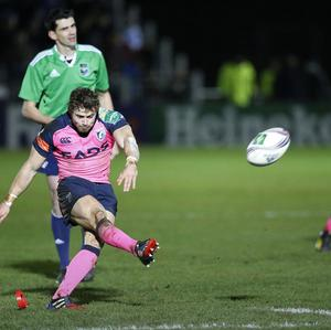 Leigh Halfpenny kicked two penalties as Cardiff Blues edged Glasgow 9-7.
