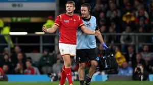 A devastated Dan Biggar was forced to leave the field with injury