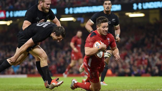 Wales scrum-half Rhys Webb in try-scoring action during the autumn internationals