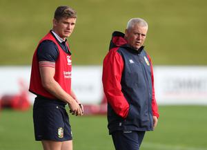 Gatland with Owen Farrell during the 2017 Lions tour to New Zealand (David Davies/PA)