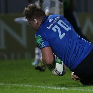 Jordi Murphy, pictured scoring a try for Leinster, will make his first start for Ireland