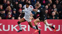 Try that: Ulster's Robert Baloucoune races through to cross the whitewash