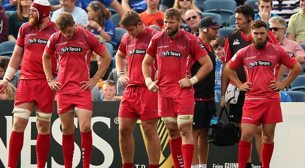 Tough clash: Ulster fans will be hoping Scarlets players' heads will be down tonight as they were when they lost in the PRO12 at Leinster