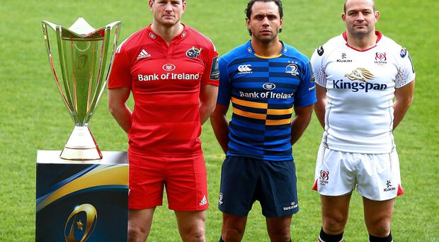 United front: Ulster captain Rory Best with Munster skipper Denis Hurley and Leinster captain Isa Nacewa ahead of their teams' Champions Cup campaigns
