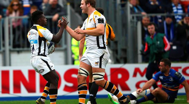 DUBLIN, IRELAND - NOVEMBER 15: Christian Wade of Wasps (L) celebrates scoring a try with Joe Launchbury during the European Rugby Champions Cup match between Leinster Rugby and Wasps at the RDS Arena on November 15, 2015 in Dublin, Ireland. (Photo by Ian Walton/Getty Images)