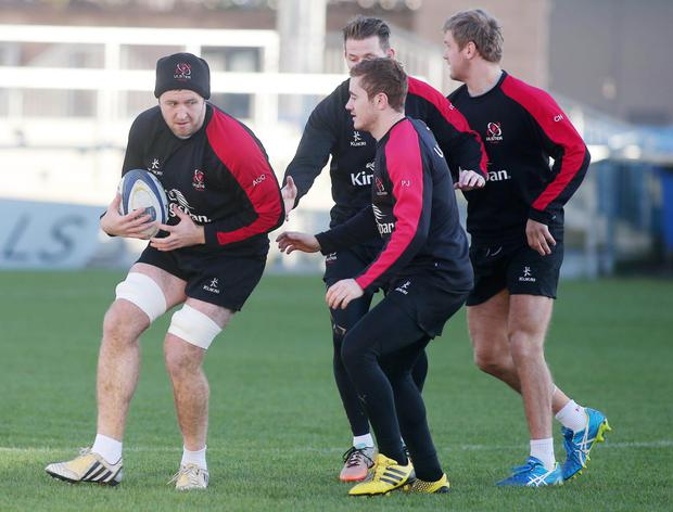 Gearing up: Alan O'Connor, Paddy Jackson, Craig Gilroy and Chris Henry prepare for the visit of Toulouse
