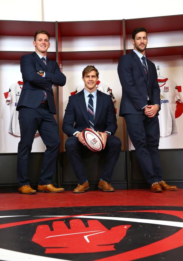 Suits you: Remus Uomo have announced the extension of their association with Ulster Rugby as official clothing partner for the 2015/16 season. Pictured are (from left) Ulster Rugby stars Craig Gilroy, Andrew Trimble and Sam Windsor