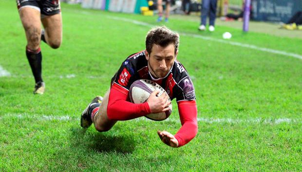 He's in: Gloucester's Greig Laidlaw scores his team's first try in their 27-13 victory over Worcester