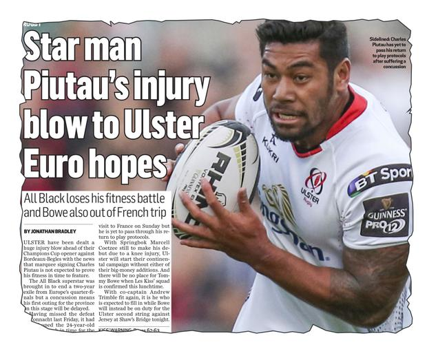 No go: How we revealed the absence of Charles Piutau yesterday