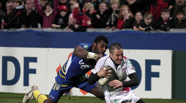 Euro star: Ian Humphreys scores a try against Clermont back in 2011 on a day when he scored all of Ulster's points