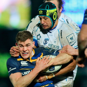 Stop there: Leinster's Garry Ringrose is tackled by Montpellier's number 8 Pierre Spies