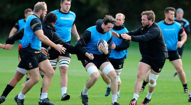 Poor run: James Gaskell puts in the hard yards in training ahead of Wasps' bid to end their losing streak in Belfast
