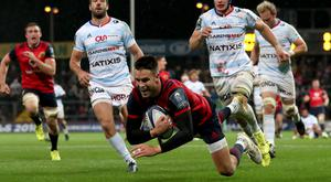 Diving over: Munster's Conor Murray crosses the line against Racing 92