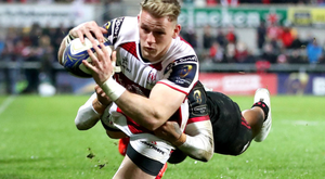 Red hot: Ulster's Craig Gilroy scores their third try