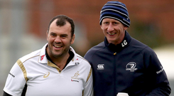 Good times: Former Leinster boss Michael Cheika with current Blues chief Leo Cullen