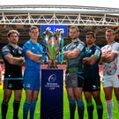 Front row: (from left) Rory Scannell (Munster), Callum Gibbins (Glasgow), Johnny Sexton (Leinster), Jarrad Butler (Connacht), Dan Lydiate (Ospreys), Alberto Sgarbi (Benetton) and Ulster's Iain Henderson pose with the Heineken Cup in Cardiff yesterday