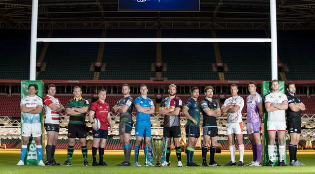Line-up: (from left) Sale Sharks' Jono Ross, Gloucester's Ben Morgan, Northampton Saints' Alex Waller, Munster's Rory Scannell, Ospreys' Dan Lydiate, Leinster's Jonathan Sexton, Harlequins' Chris Robshaw, Connacht's Jarrad Butler, Glasgow Warriors' Callum Gibbins, Benetton's Alberto Sgarbi, Exeter Chiefs' Sam Skinner, Ulster's Iain Henderson and Bath's Charlie Ewels at the Champions Cup launch at the Principality Stadium in Cardiff