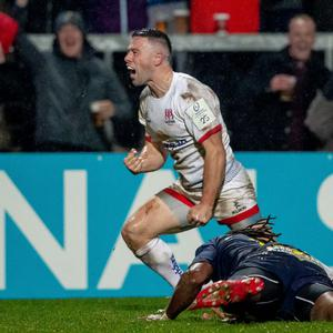 Ups and downs: John Cooney shows his delight after bagging a try for Ulster, but he is yet to make headway with Ireland