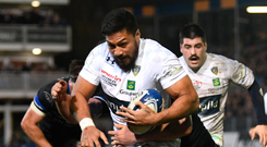 Power game: George Moala of Clermont drives over for a try