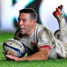 Form player: John Cooney goes over for a try against Harlequins