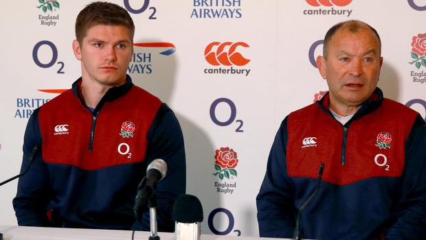 Eddie Jones, right, and Owen Farrell are looking to power their way to success against Scotland (Adam Davy/PA)