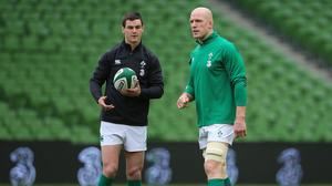 Paul O'Connell, right, will become only the fourth player to reach 100 Test caps for Ireland against Wales