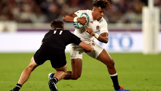 England wing Anthony Watson, pictured in Rugby World Cup semi-final action against the All Blacks, will miss England's Six Nations clash with Ireland due to injury.