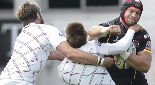 Talking point: Ulster's Dan Tuohy clashes with Leicester's Toby Flood in pre-season, resulting in the England player being carried off
