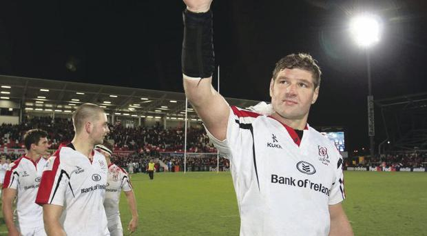Thumbs up: Ulster skipper Johann Muller thanks the fans for their support on Friday night