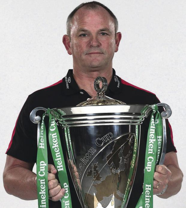 Sneak preview: Ulster coach Mark Anscombe gets his hands on the Heineken Cup and would love to be holding it aloft again come next year