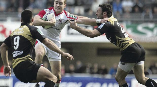 Key man: Ulster's Paddy Jackson confronts Montpellier's Jonathan Pelissie