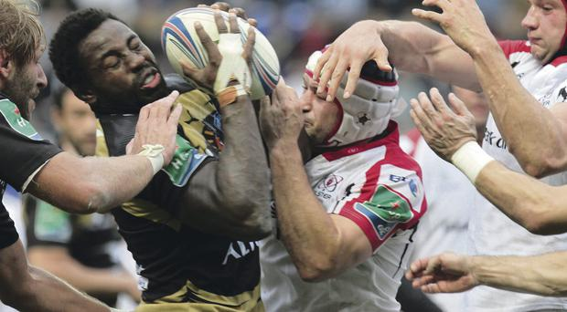 Ulster's Rory Best in action with Montpellier's Fulgence Ouedraogo